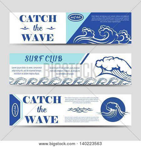 Web banners for surf club set vector with waves