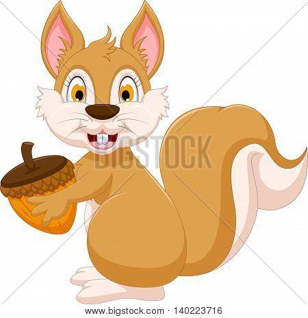 cute squirrel cartoon holding hazelnut for you design