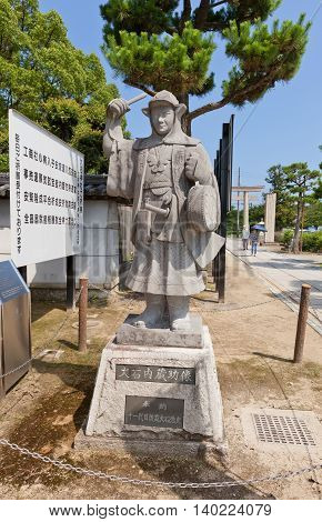 AKO JAPAN - JULY 18 2016: Statue of Oishi Kuranosuke (Yoshio) leader of famous 47 ronins in the Oishi Shrine. Shrine is dedicated to 47 loyal samurais and is located on the grounds of Ako Castle