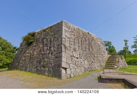 AKO JAPAN - JULY 18 2016: Base of main keep (donjon or Tenshu) of Ako Castle (circa 17th c.) in Ako Japan. Castle was a seat of Lord Asano Naganao