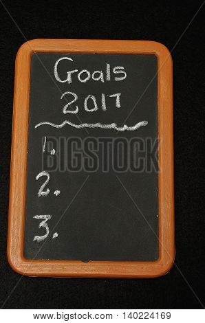 A black board with space to write goals for 2017