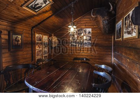 SVEG, SWEDEN ON JULY 08. Interior view of the Café Cineast on July 08, 2016 in Sveg, Sweden. Buffalo room furnished in imaginative style, retro equipment from the film, movie world. Editorial use.