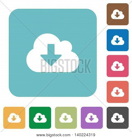 Flat cloud download icons on rounded square color backgrounds.