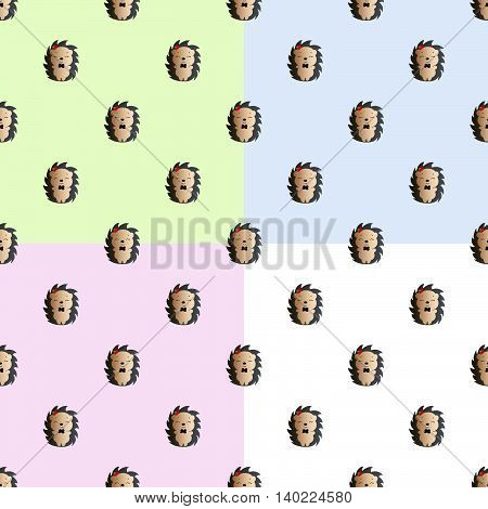 Four baby seamless pattern with hedgehog with a bow tie and red apple on the his head, on a green, blue, pink and gray background