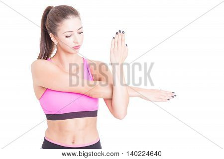 Woman Stretching Her Arms Preparing For Exercises