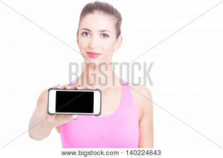 Selective Focus Of Sport Trainer Girl Holding Telephone