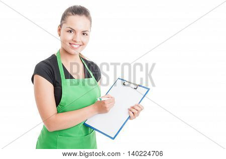 Attractive Employee Working In Supermarket And Holding Clipboard