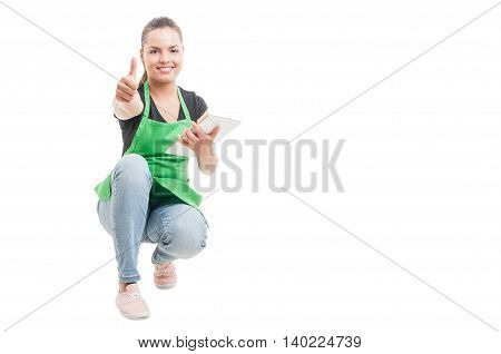 Cheerful Female Employee With Tablet Thumb Up