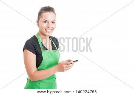 Smiling Hypermarket Employee Reading Something