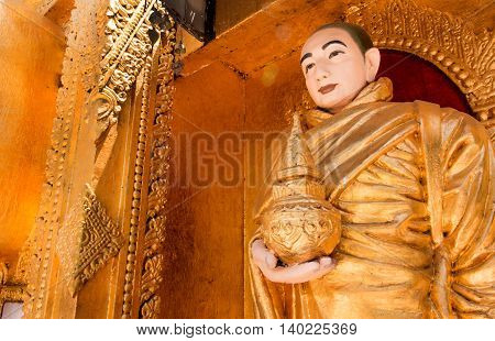 Buddha Statue In A Beautiful Temple. Buddha Statue In A Niche.