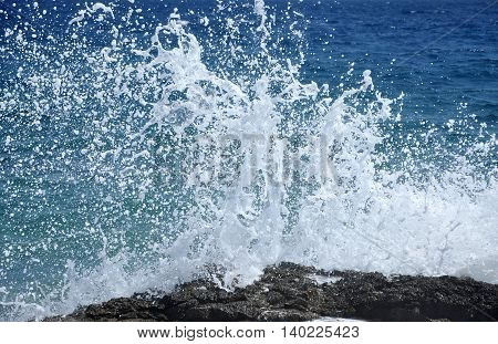 Sea Waves Crushing The Shore