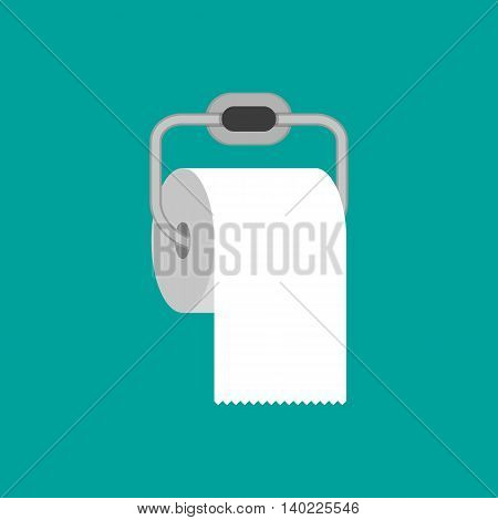 Toilet paper roll with metal holder. vector illustration in flat style on green background