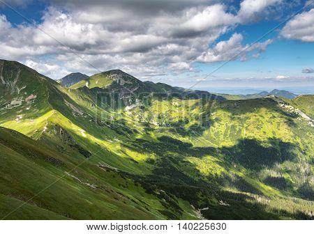 Valleys, Ridges And Peaks Of Summer Western Tatras Mountains
