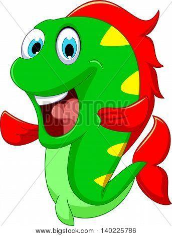 happy fish cartoon close up for you design