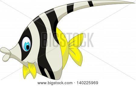 funny black and white angel fish cartoon