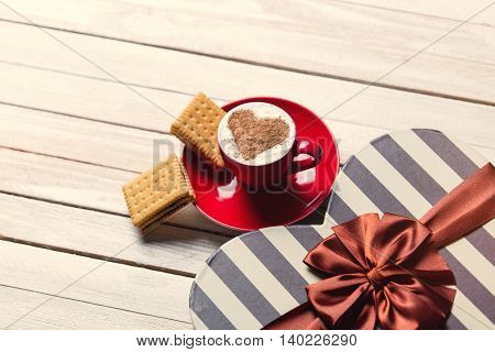 Cup Of Coffee, Cookies And Gift