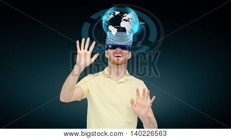 3d technology, virtual reality, cyberspace, entertainment and people concept - man with virtual reality headset or 3d glasses playing game and looking at earth globe projection over black background