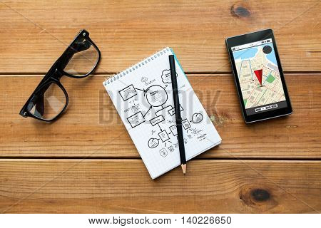navigation, travel, location and technology concept - close up of scheme drawing in notepad with pencil, gps navigtor map on smartphone screen and eyeglasses on wooden table