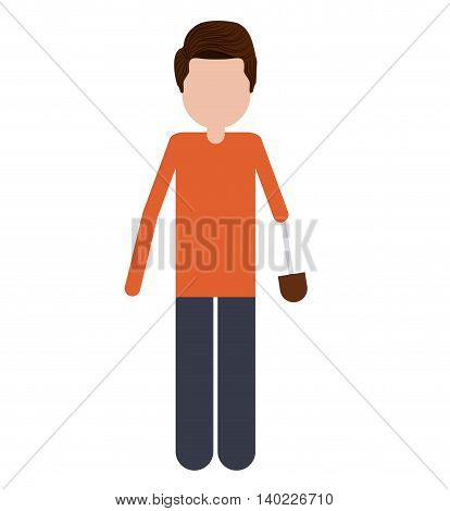 person with hand prosthesis isolated icon design, vector illustration  graphic