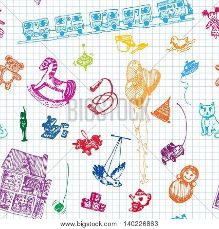 Hand drawn doodle toys seamless pattern. Colored pencil objects, notebook background. Play, game, kids, children, child, poster, flyer, design.