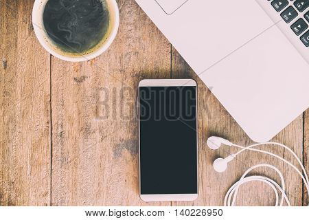 Business Accessory. Laptop And Smart Phone For Working Business Project On Wooden Table. You Can App