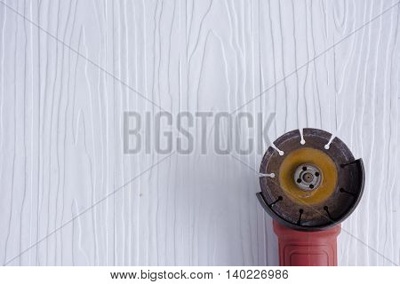 Red steel cutter  on white pattern  background suitable for background masonry and craftsman tool or equipment or household or background tool.3
