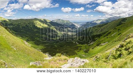 Beautiful Mountain Valley Under Blue Sky