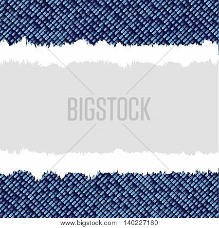 A square background in blue denim style with tear copy space