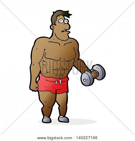 cartoon man lifting weights