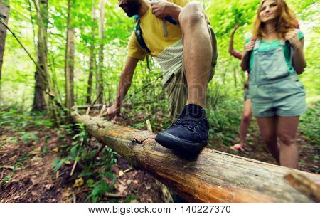 adventure, travel, tourism, hike and people concept - close up of friends hiking with backpacks and climbing over fallen tree trunk in woods