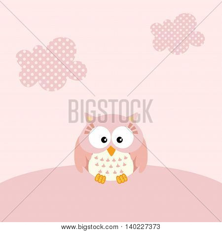Scalable vectorial image representing a baby girl owl background.