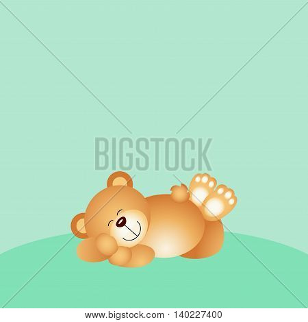 Scalable vectorial image representing a sleeping teddy bear background.