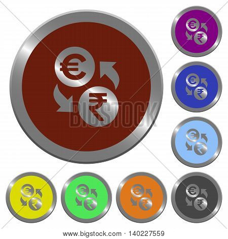 Set of color glossy coin-like Euro Rupee exchange buttons.