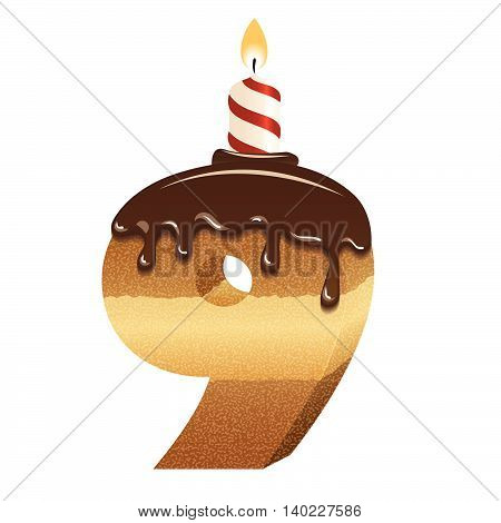 Cake font -number nine - 3d -with candle, vector image