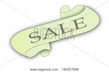 A scroll with the text SALE isolated on white.