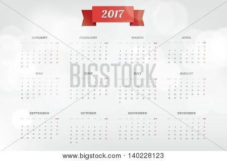 Bright Modern white Calendar for 2017. Week Starts Monday. Crear design Vector illustration.