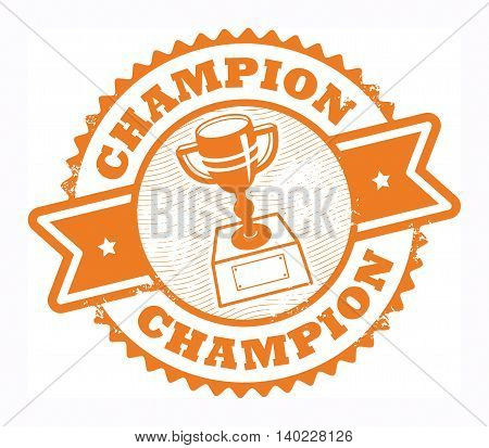 Color grunge rubber stamp with the text Champion written inside the stamp, vector illustration