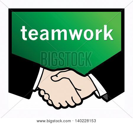 Business handshake with text Teamwork, vector illustration