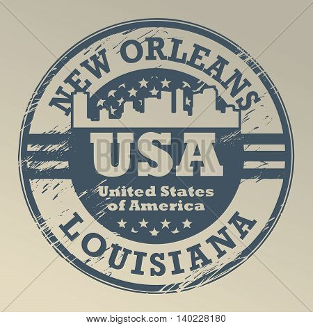 Stamp with name of Louisiana, New Orleans, vector illustration