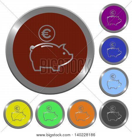 Set of color glossy coin-like Euro piggy bank buttons.