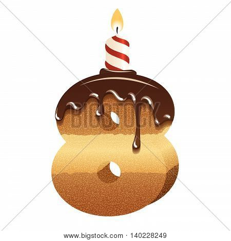 Cake font -number eight - 3d -with candle, vector image