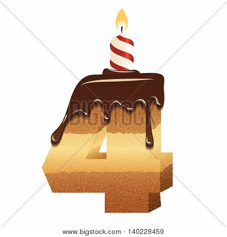 Cake font -number four - 3d -with candle, vector image