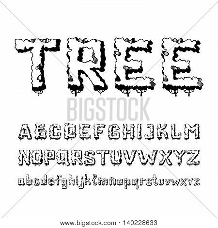 Hand-drawn doodle alphabet in trees. English alphabet font from plants consisting of capital and small letters