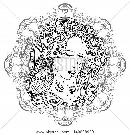 portrait of the beautiful young girl with mandala background. Black silhouette on white background. Zentagle. Can be used as adult coloring book, coloring page.