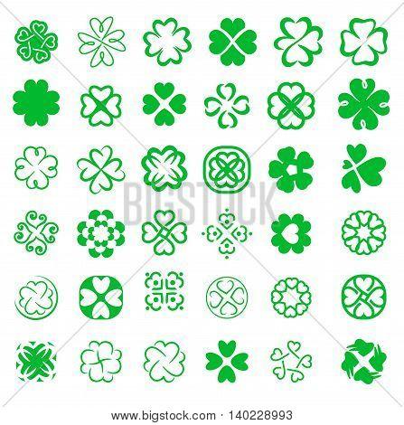 Сlover symbol icon set green on white background
