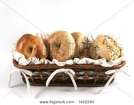 Looking Down At A Basket Full Of Bagels