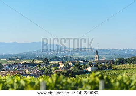 Village of Saint Etienne des Oullieres of Beaujolais Burgundy France