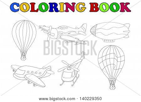 coloring book with air transportation set cartoon