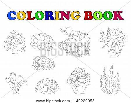 coloring book with beautiful coral cartoon collection