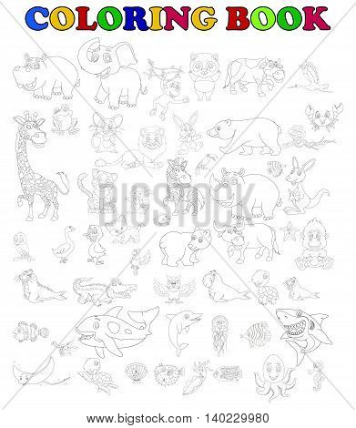 coloring book of big animal cartoon set